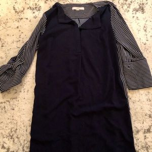 Blue and white stripped professional shift dress
